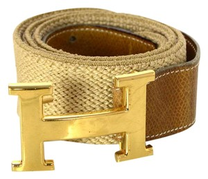 Herms Hermes Stretch Belt With Gold Logo Buckle