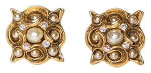 Claire Deve Claire Deve Gold-Tone Pearl & Crystal Earrings