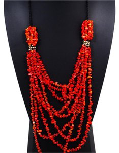 Beaded Statement Necklace Red Beaded