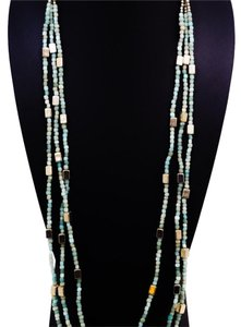Sea Blue Beaded Necklace Long Necklace Blue Beaded