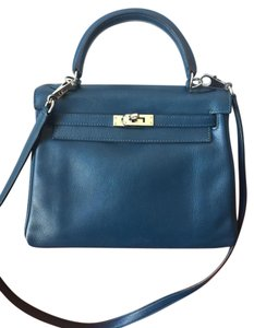 Hermès Kelly 25cm Swift Satchel in Bleu de Malte