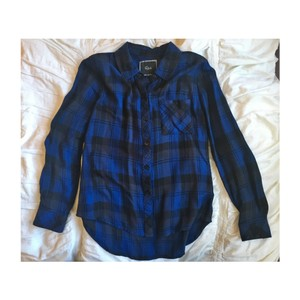 Rails Button Down Shirt black and blue