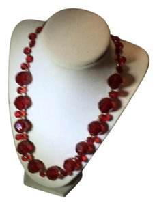 Anna's Art Gorgeous Red Color Crystals Necklace