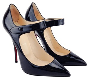 Christian Louboutin Patent Leather Mary Jane Pointy Toe Black Pumps