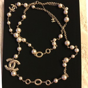 Chanel New in Box Chanel Pearl Strand Necklace with CC Logo Strand