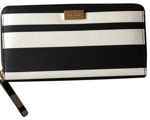 Kate Spade New York Black White Striped Continental Wallet