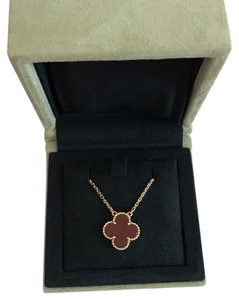 Van Cleef & Arpels Authentic Van Cleef & Arpels Red Carnelian Vintage Alhambra Necklace