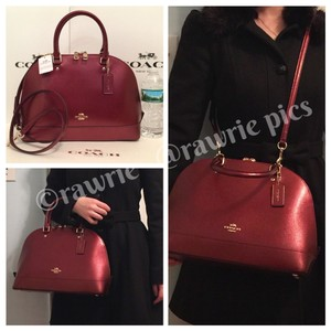 Coach Structured Dome Adjustable Satchel in burgundy
