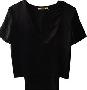 Alexander Wang Silk Layered V-neck Top Black