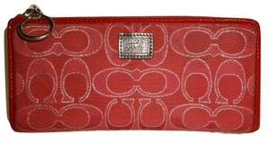 Coach POPPY Ruby Red Signature Lurex Slim Zip Clutch Wallet #46130