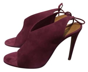 Aquazzura Ami Suede Color Ankle Tie Strap Plum Sandals
