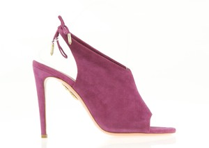 Aquazzura Ami Suede Plum Color Ankle Tie Strap Purple Sandals