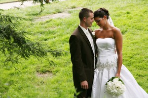 Stephen Yearick Matching Veil & Sweetheart Strapless Wedding Dress