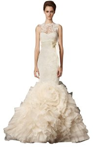 Vera Wang Ivory Lace Lark Traditional Wedding Dress Size 4 (S)