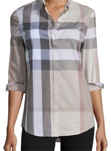 Burberry Brit Button Down Shirt Burberry check Pale Stone