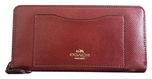 Coach NEW COACH gold logo metallic shimmer leather long Clutch wallet Red