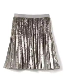 Banana Republic Sequin Pleated Skirt Silver