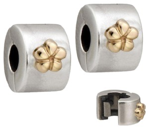 PANDORA Authentic Pandora Sterling Silver & 14K Gold Flower Clips, set of 2