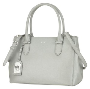 Ralph Lauren Leather Silver Hardware Slip Pockets Geniune Satchel in Gray