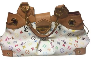 Louis Vuitton Satchel in White with multi color LV monogram