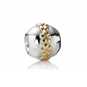 PANDORA PANDORA Saturn Flower Bead in Sterling Silver 14K Gold 790179