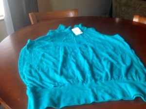 Banana Republic Turtleneck Sleeveless Top Aqua green blue