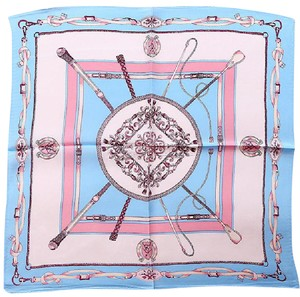 Other Blue Silk Square Scarf Twill Pink White Chain Link Print Tie