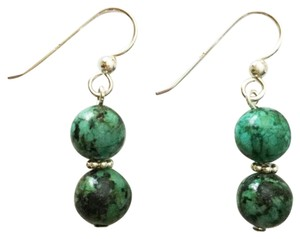Other Green Jasper & Sterling Silver Stacked Dangle Earrings
