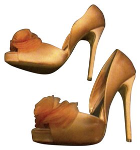 Audrey Brooke Satin Leather Sole Prom Wedding Pink Pumps