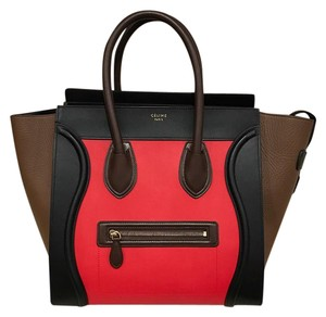 Céline Mini Luggage Leather Handle Tote in red