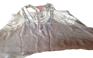 New York & Company & Co Sleeveless Flair And White Faux Jewelry Print Flattering Fit Top Gray