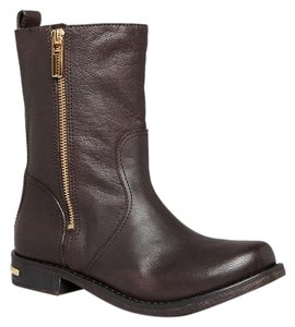 Tory Burch Distressed Leather Moto Coconut Brown Boots