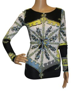 Emilio Pucci Black Green White Longsleeve Gold Hardware Print Viscose Cut Out Button Top Multi-color