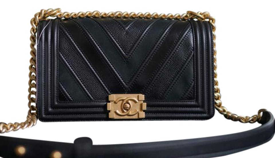 9cb37b85c800 Chanel Boy Le Old Medium Wide Chevron Gold Hardware Black Calf ...