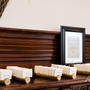 14 Gold Wooden Escort Card Holders