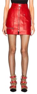 Isabel Marant Mini Skirt Red Leather Zip Front