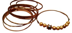 Other Bronze Gold Colored Black Freshwater Pearl Bangle Set Etched Bracelets Set