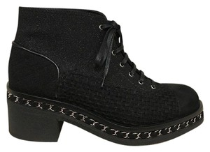 Chanel Chain Tweed Suede Lace Combat black Boots