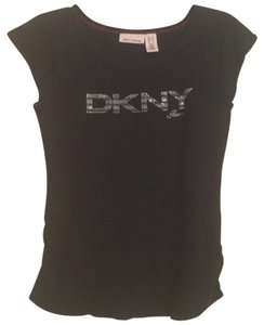 DKNY T Shirt Black with silver glitter logo