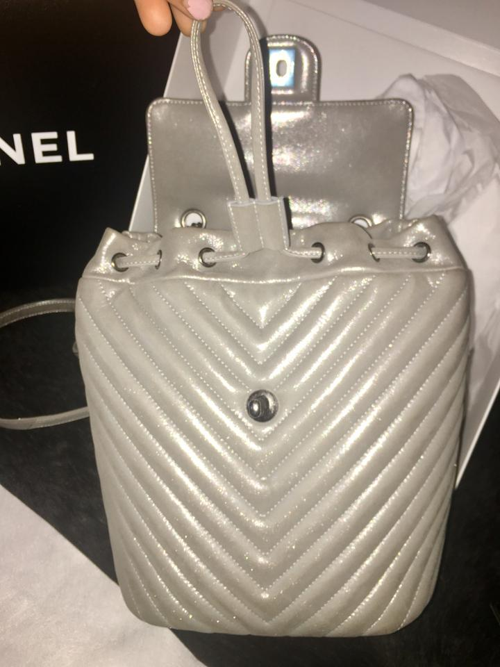 045764a732d8bd Chanel Chevron Silver Backpack - Tradesy