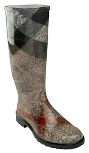 Burberry Floral Rain Check Cream, Black, Red Boots