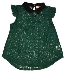 meraki Lace Vintage Victorian Top Emerald/Black