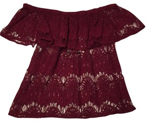 iNNY Ruffle Lace Off The Shoulder Top Merlot