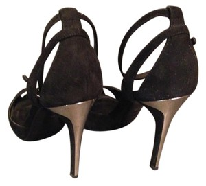 Ralph Lauren Black Label Suede Metal Heels black Sandals