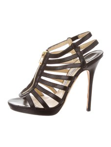 Jimmy Choo Glennys Caged Gladiator 9 Black Sandals