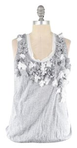 Anthropologie Soft Stretchy Cotton Applique Scoop Neck Top Gray