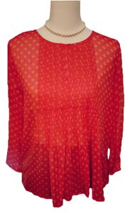 Old Navy Machine Washable Sheer Top Red