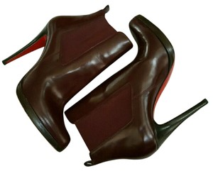 Christian Louboutin Leather Burgundy Bang Bang 100 Bootie Boots