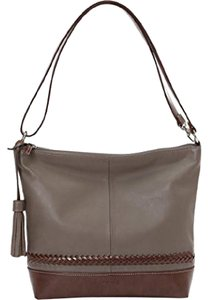 Tignanello Leather Tassel Shiitake/Brown Color Lightweight Cross Body Bag