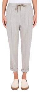 Brunello Cucinelli Belted Relaxed Pants light grey